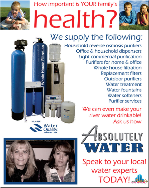Absolutely Water Kimberley Filters, distillers, dispensers, reverse osmosis purification and bottling plant