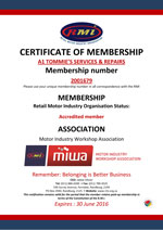 A1 Tommie's RMI Membership Certificate