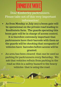 Kimberley Parkrun Boom Gate Notice