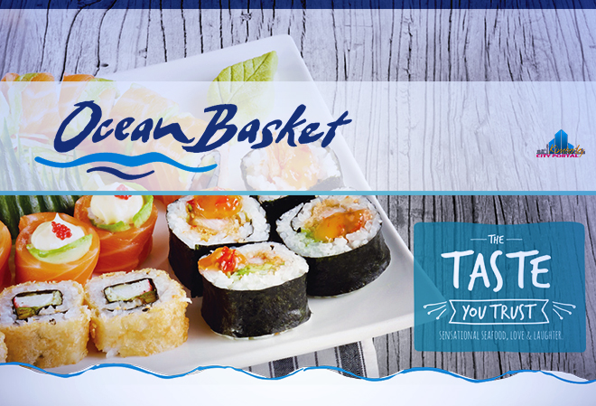 A delicious variety of Sushi at Ocean Basket in Kimberley includes maki, sashimi, hand rolls, fashion sandwiches, salmon roses, nigiri, california rolls, tempural rolls & sushi platters