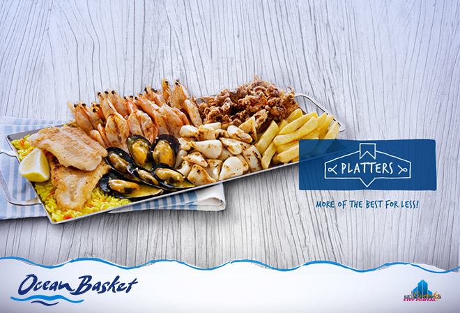 Delicious Platters for one or two at Ocean Basket in Kimberley