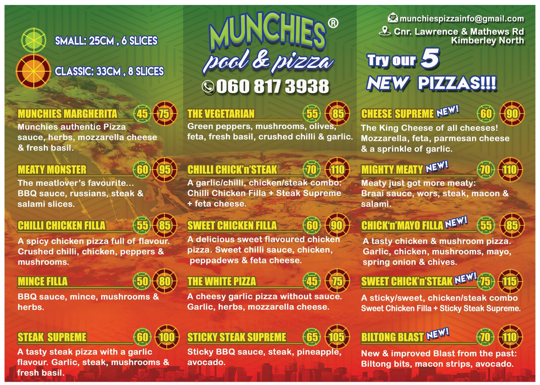 Munchies Pizza Menu Page 1