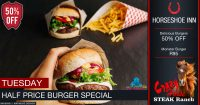 Tuesday Half Price Burger Special @ The Crazy Horse Steak Ranch – Horseshoe Inn