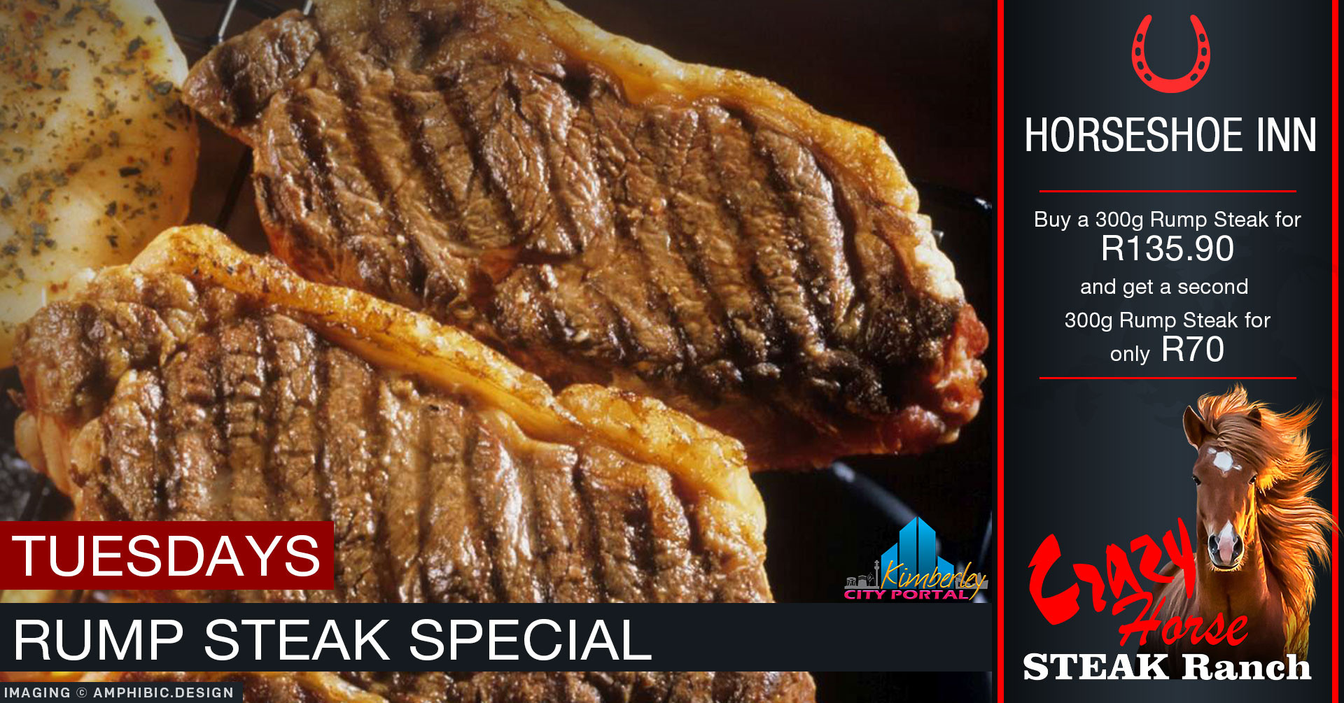 Tuesday Rump Steak Special  The Crazy Horse Steak Ranch ...